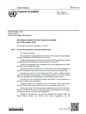 U.N. General Assembly Passes Resolution on Youth, Disarmament, and non-proliferation